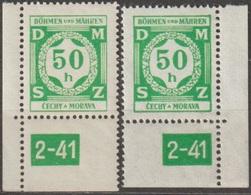 32/ Bohemia & Moravia; Service - ** Nr. SL 3 - Corner Stamps, Plate Mark 2-41 - Ongebruikt