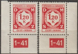 36/ Bohemia & Moravia; Service - ** Nr. SL 7 - Corner Stamps, Plate Mark 1-41 - Ongebruikt