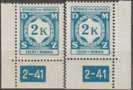40/ Bohemia & Moravia; Service - ** Nr. SL 9 - Corner Stamps, Plate Mark 2-41 - Ongebruikt
