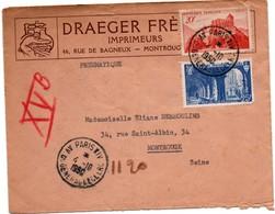 Pneumatique Paris XIV 1950 Pour Montrouge Avec Au Verso Cachets 11h55 & 12h15 - 2 Abbayes - 1921-1960: Période Moderne