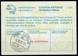 LIECHTENSTEIN La22A 90 CENTIMES International Reply Coupon Reponse Antwortschein IAS IRC O VADUZ 3.8.75 (Zst. 41) - Stamped Stationery