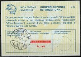 LIECHTENSTEIN La22J Fr. 1.40 / 90 CENT. Int. Reply Coupon Reponse Antwortschein IAS IRC O VADUZ 30.8.76 (Zst. 42) - Stamped Stationery