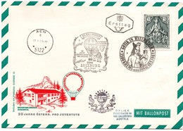 37 Ballonpost 1967 - Krems & Ach & Salzburg - Montgolfière - Pestalozzi - Vierge Maria Marie - Ballonpost