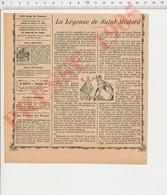 2 Scans Humour La Légende De Saint-Médard Invention Du Parapluie Avec Des Ailes D'aigle Pluie Arrosoir Ancien 223CH26 - Vieux Papiers