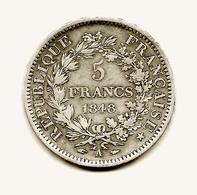 5fr Argent Hercule 1848  A  Belle Voir Photo Jointe - France