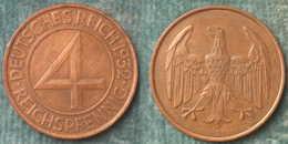 M_p> Germania Repubblica Di Weimar 4 Reichpfennig 1932 A - [ 3] 1918-1933 : Weimar Republic