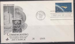 SPACE - USA - 1962 - JOHN   GLENN ILLUSTRATED COVER ,FDC - Lettres & Documents