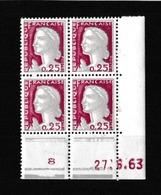 FRANCE  Y&T N 1263 ** Coin Daté Du  27 06 1963 - Ecken (Datum)