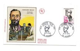 Enveloppe Premier Jour D'émission Edouard Belin Physicien 1876-1963 Vesoul 1972- Timbrede 0.50+0.10 Francs - Persönlichkeiten