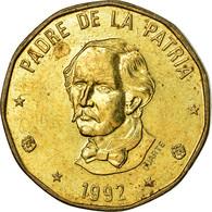 Monnaie, Dominican Republic, Peso, 1992, TTB, Laiton, KM:80.1 - Dominicaine