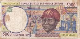 BILLETE DE GABON DE 5000 FRANCS DEL AÑO 1994  (BANKNOTE) PETROLEO (LETRA L) - Gabun