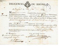 Diligences Du Rhône Quittance Du 21 Janvier 1751 - France