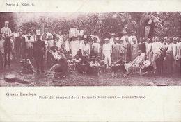 Guinea Espanola  Parte Del Personal De La Hacienda Montserrat Fernando Poo. Undivided Back Pionner Card - Guinea Equatoriale