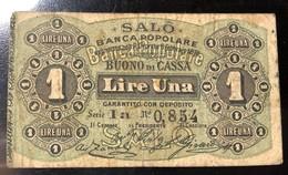 Salò Banca Popolare 1 Lira 1870 R3 RRR  Biglietti Fiduciari LOTTO 3184 - [ 1] …-1946 : Royaume