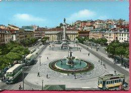 Portugal - Lisbonne - Tramway Place Pedro IV - Dentelée, Colorisée - - Tram