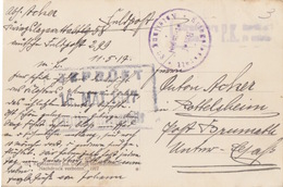 3 CP (Baile Calimanesti) De Mai à Juin 17 + Tampon Violet Kriegs Lazarett 58 + Censure Postüberwachungstelle (à Date) - 1. Weltkrieg (Briefe)