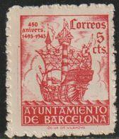 España 1943 Edifil BA49 Sello º Barcelona Aniversario Llegada De Colon Nº Control Dorso 5c Spain Stamps Timbre Espagne - Barcelona