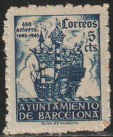 España 1943 Edifil BA50 Sello º Barcelona Casa Padellas Nº Control Al Dorso 5c Spain Stamps Timbre Espagne Briefmarke - Barcelona