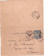 FRANCE - Entier Postal - Carte Lettre - Type Sage 15c Bleu - Paris Pour Cayeux - Oblitération Le 18-09-1886 - Cartoline-lettere