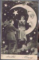 3 Cpa Couple Devant Lun Croissant De Lune Humanisée - Parejas