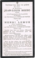 INGELMUNSTER  - Doodsprentje Van Jean-Louis BOZEC (priester) En Henri LEMUR , Gesneuvelde  + 1915/1916 - Devotion Images