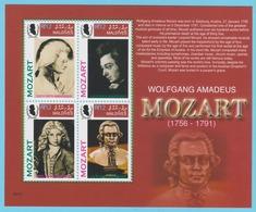 J.P.S. 7 - Musique - Timbre - Compositeur - N° 65 - Maldives - Mozart - N° Yvert 3736 à 3739 - Musique