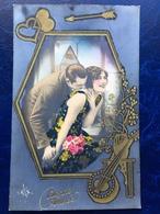 """""""Style Art Deco--cadre Avec Couple Qui S'embrassent-""""(2417) - Nouvel An"""