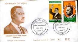 Niger 1970 - FDC Président Gamal Abdel Nasser - Niamey - 5 Janv. 71 - Niger (1960-...)