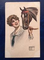 """Cpa-""""Dame Tenant Cheval Par Les Rênes-""""-Vittorio Rappini--(2419)--1920 - Illustrateurs & Photographes"""
