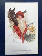 """Cpa-""""Jolie Dame Avec Voiture Ancienne Classique Et Cheval -""""--(2421)--192. - Autres Illustrateurs"""
