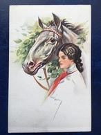 """Cpa-""""Jolie Dame Tenant Un Cheval Par Les Rênes -""""--(2422) - Autres Illustrateurs"""