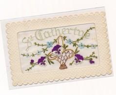 Carte Ste Catherine Brodée Pensées Fleurs Gaufrée Embroidery - Brodées