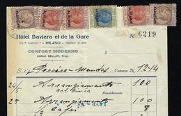 Hotel Baviera Et De La Gare MILANO. 6 REVENUE STAMPS Fiscal ALBERGHI Tassa Di Bollo Scambi TAX DUE Italia - 1900-44 Vittorio Emanuele III