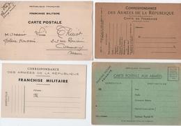 MILITARIA. 14-18 / 1950 / 1961. LOT De 13 CARTES. CORRESPONDANCE Et FRANCHISE MILITAIRE. - Non Classés