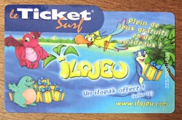 ILOJEU TICKET SURF 2 EUROS CARTE PRÉPAYÉE INTERNET 2007 PHONECARD NO TELECARTE POUR COLLECTION - Surf