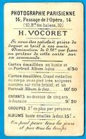 """PHOTO CDV Publicitaire Tarif H. VOCORET """"Photographie Parisienne"""" 75009 Paris (ex Passage De L'Opéra) - Fotos"""