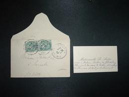 LETTRE MIGNONNETTE TP BLANC 5c Paire OBL.8-1 07 AVIGNON VAUCLUSE (84) Carte De Visite Mlle R. ANDRE - Marcophilie (Lettres)