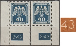 45/ Bohemia & Moravia; Service - ** Nr. SL 14 - Corner Stamps, 2nd Issue, Plate Mark 2-43, Print Plate 3 - Ongebruikt