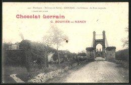 CPA Grolejac, Le Chateau, Le Pont Suspendu - France