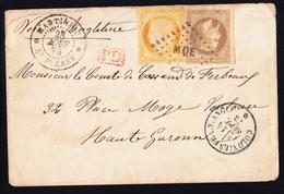L EMISSIONS GENERALES - L - N°9 + 13 - 30c Brun + 40c Orange - Obl. MQE Saint-Pierre - 28.8.73 Pour Toulouse - Cachet D' - Napoléon III