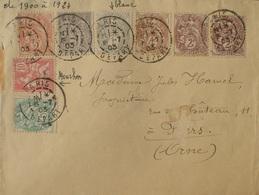 DF/1175 - ✉️ (LSC) PARIS DEPART à FLERS-DE-L'ORNE - 15 JUILLET 1903 - TYPE SAGE / BLANC / MOUCHON N°87-107 à 111 Et 124 - 1900-29 Blanc