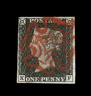 O GRANDE BRETAGNE - O - N°1 - 1p Noir - Obl. Rouge - Planche K-F - TB - Used Stamps