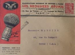 DF/1177 - 1939 - TYPE MERCURE N°412 Seul Sur ✉️ Avec Superbe PUBLICITE - 1938-42 Mercure