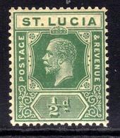St Lucia 1921 - 31 KGV 1/2d Green MM SG 91 ( H260 ) - St.Lucia (...-1978)