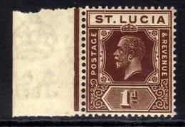 St Lucia 1921 - 30 KGV 1d Deep Brown Umm SG 93 ( H156 ) - Ste Lucie (...-1978)