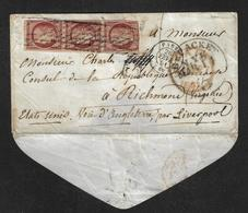 France N°6 Bande De 3 Sur Lettres Pour Les Etats-unis Cote 4600€ Signé Calves. - 1849-1876: Période Classique