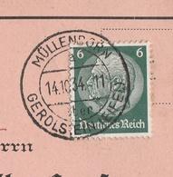 Deutsches Reich Karte Mit Tagesstempel Müllenborn über Gerolstein Eifel 1934 Stadt Gerolstein Lk Vulkaneifel - Duitsland