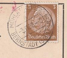 Deutsches Reich Karte Mit Tagesstempel Mühlatschütz über Bernstadt Schlesien 1938 Lk Oels RB Breslau Schlesien - Deutschland