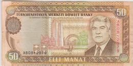 Turkménistan - Billet De 50 Manat - Saparmyrat Niazov - Non Daté (1993) - P5a - Turkmenistan