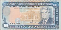 Turkménistan - Billet De 100 Manat - Saparmyrat Niazov - 1995 - P6b - Neuf - Turkmenistan